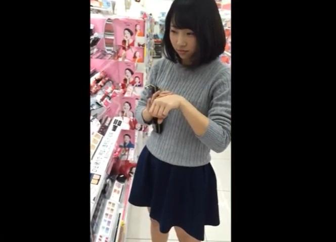 bimajoj dmm2154 - <個人撮影>ドラッグストアの化粧品コーナーを徘徊する美少女JKのスカートの中身を無許可撮影敢行!